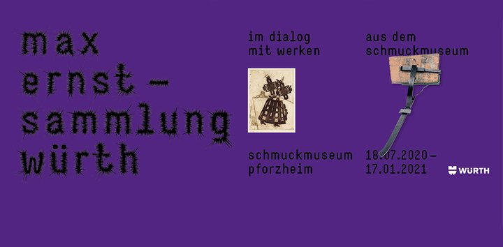 "Poster of the current exhibition ""Max Ernst - The Würth Collection. In dialogue with pieces from the Jewellery Museum's collection"""